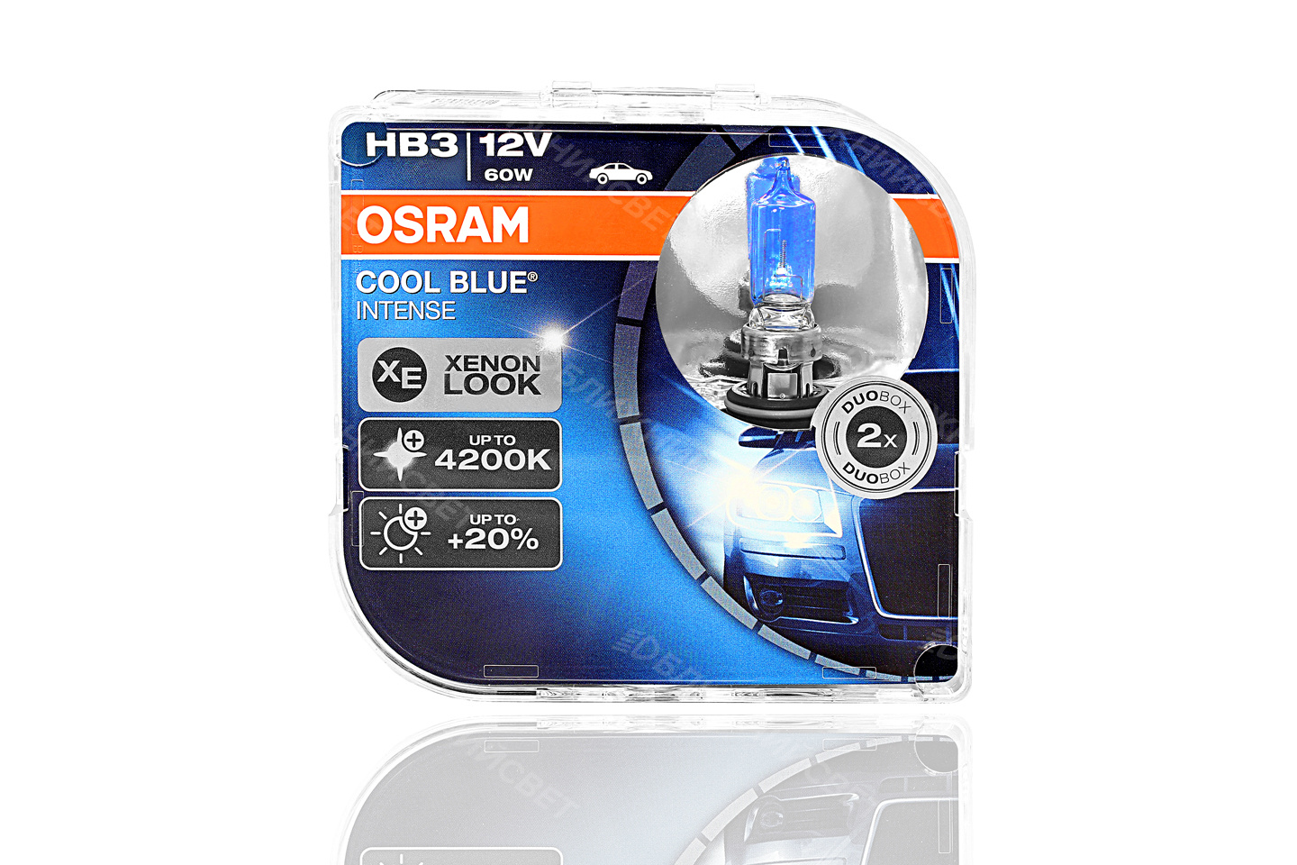Фото Комплект галогенных автоламп OSRAM HB3 9005 COOL BLUE INTENSE 4200°К +20%света (12V,60W) 9005CBI-HCB артикул 9005CBI-HCB