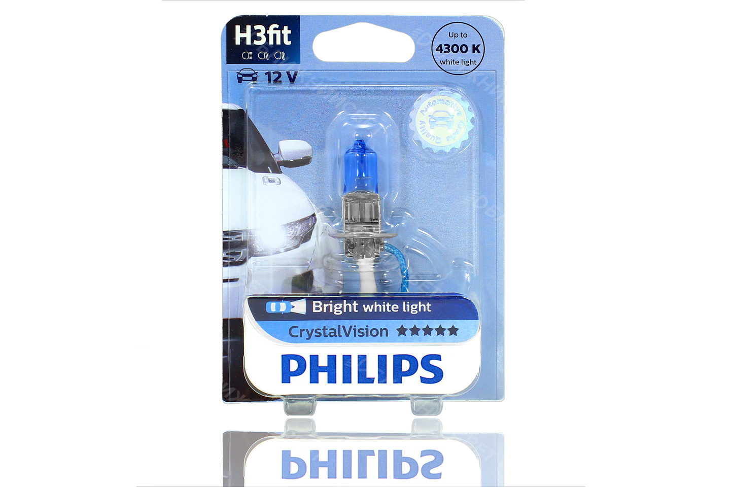 Галогеновая лампа для автомобиля PHILIPS H3 CRYSTAL VISION (12V, 55W) артикул 12336CVB1