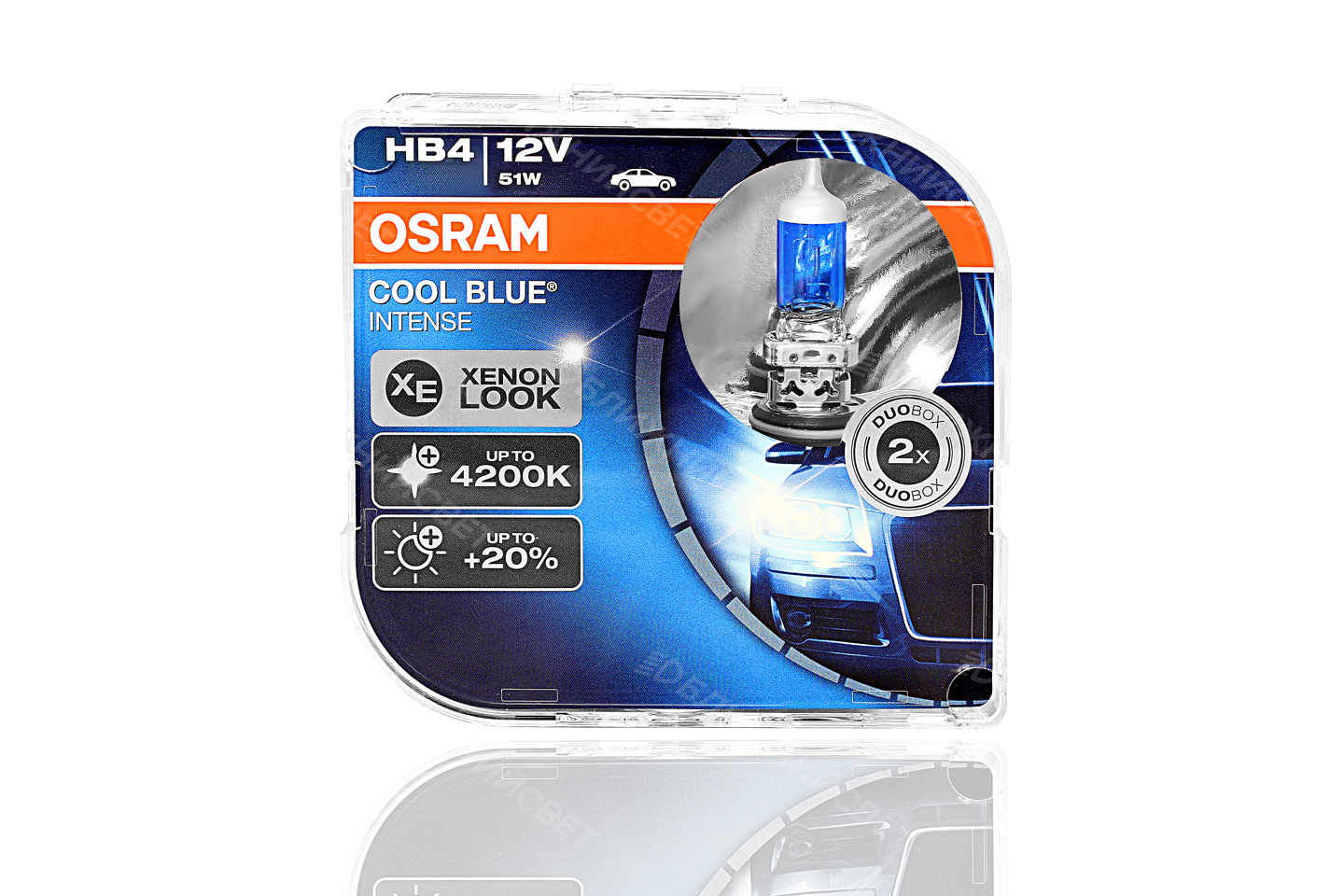 Фото Комплект галогенных автоламп OSRAM HB4 9006 COOL BLUE INTENSE 4200°К +20%света (12V,51W) 9006CBI-HCB артикул 9006CBI-HCB