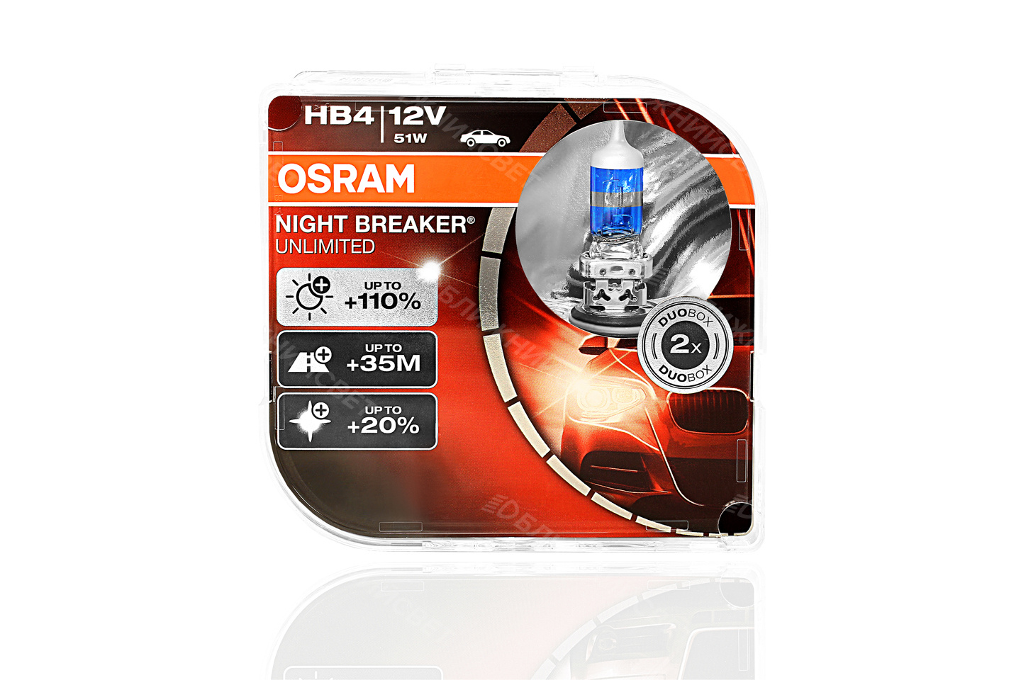 Фото Комплект галогенных автоламп OSRAM HB4 9006 NIGHT BREAKER UNLIMITED +110%света (12V,51W) 9006NBU-HCB артикул 9006NBU-HCB