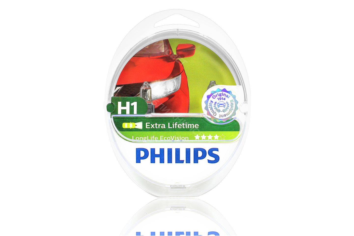 Фото Комплект галогенных автоламп PHILIPS H1 LONG LIFE ECO VISION (12V, 55W) (Германия) (12258LLECOS2) артикул 12258LLECOS2