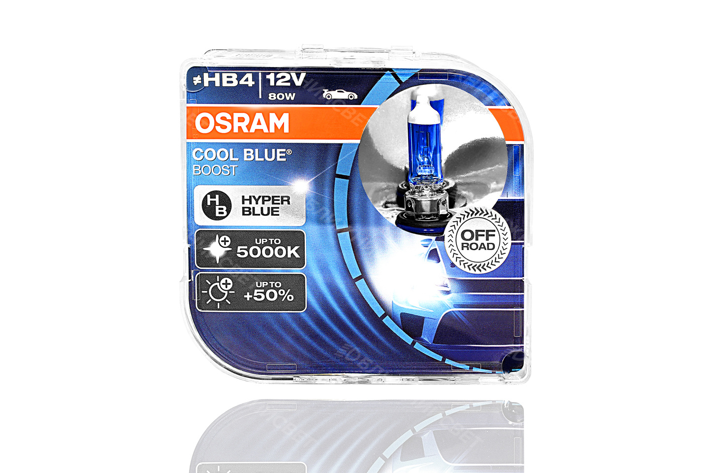 Фото Комплект галогенных автоламп OSRAM HB4 9006 COOL BLUE BOOST 5000°К +50% света (12V,80W) 69006CBB-HCB артикул 69006CBB-HCB