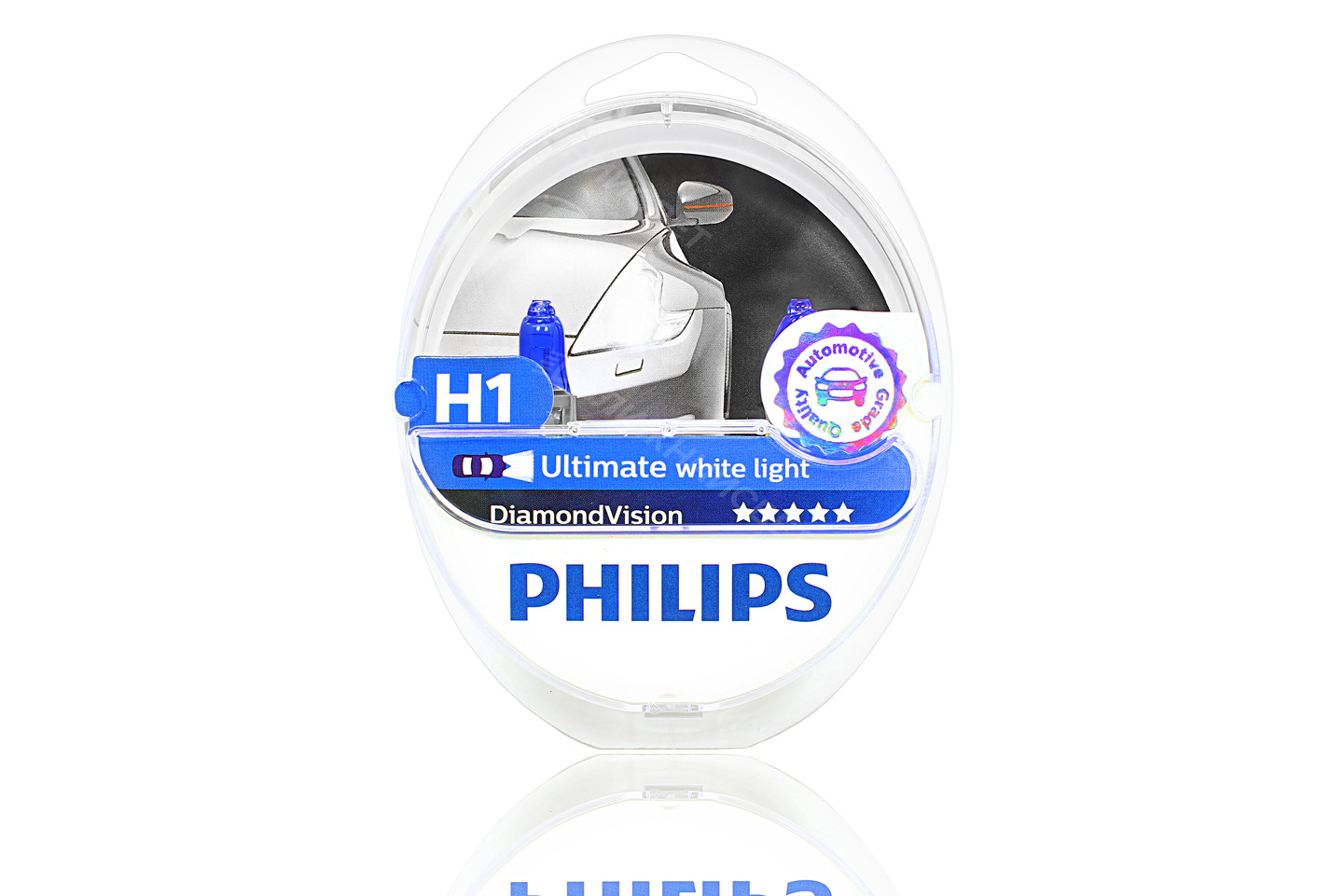 Фото Комплект галогенных автоламп PHILIPS H1 DIAMOND VISION 5000°K (12V, 55W) (Германия) (12258DVS2) артикул 12258DVS2
