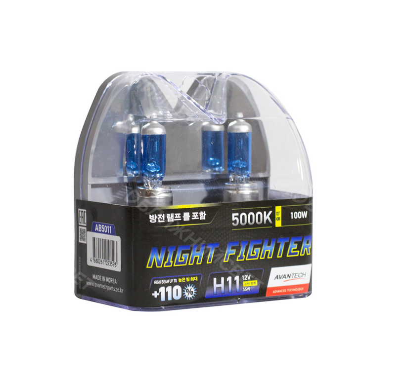 Комплект галогенных автоламп AVANTECH H11 NIGHT FIGHTER +110% СВЕТА 5000°K (12V,55W) Корея (AB5011)