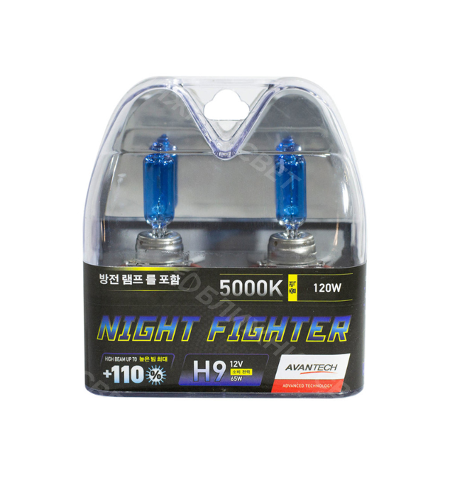 Комплект галогенных автоламп AVANTECH H9 NIGHT FIGHTER +110% СВЕТА 5000°K (12V,65W) Корея (AB5009)