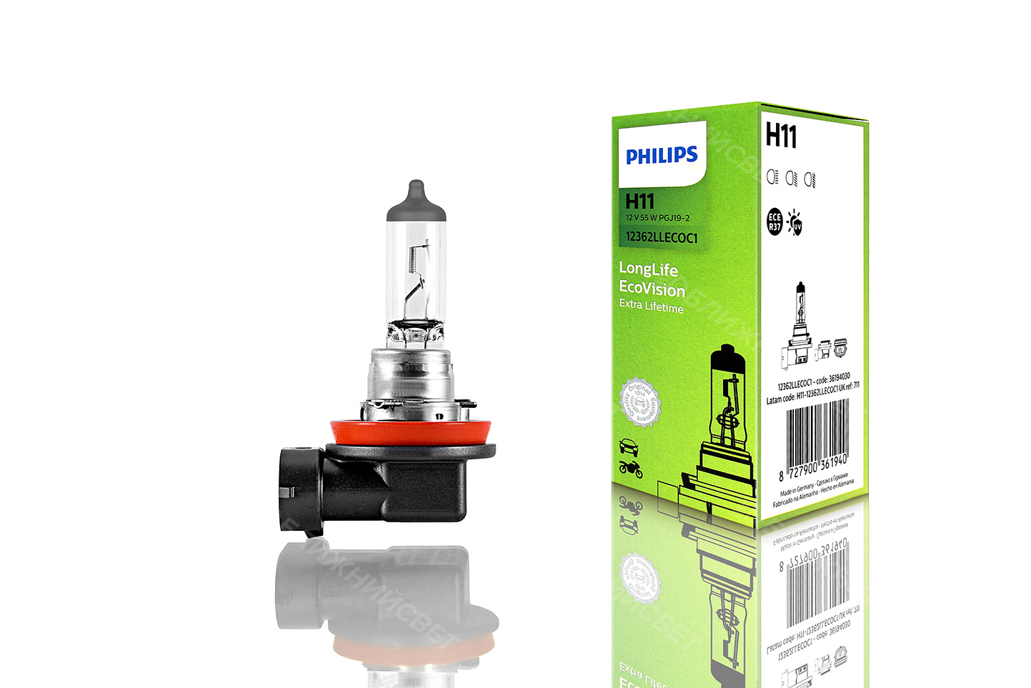 Галогеновая лампа для автомобиля PHILIPS H11 ORIGINAL (12V, 55W) артикул 12362LLECOC1